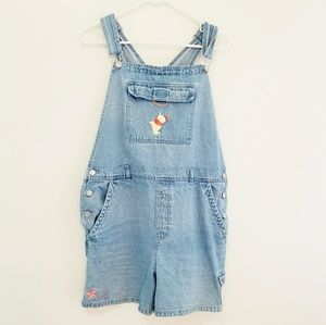 Winnie the Pooh Embroirdered Overall Shorts Size L